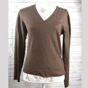 Zara sweater v-neck solid brown ribbed neckline